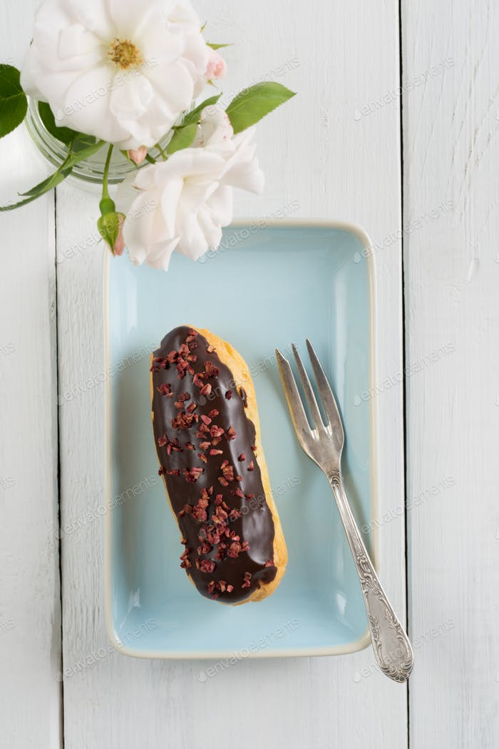 Chocolate raspberry eclair