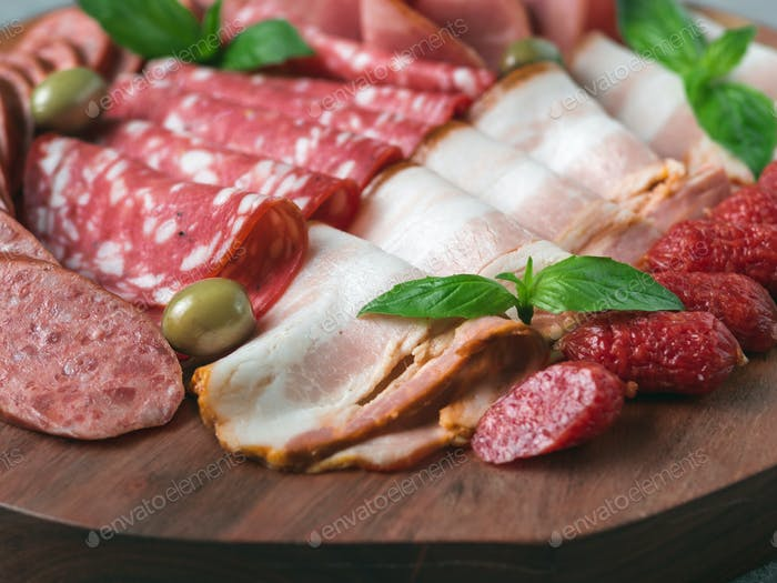 Cold smoked meat plate assorted snacks set