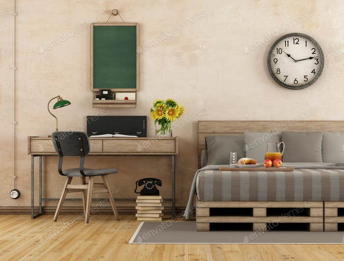 Retro master bedroom with bed and desk - 3d rendering