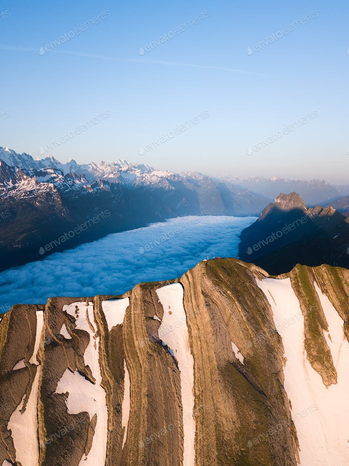 Aerial Shot of a Mountain Top in Switzerland