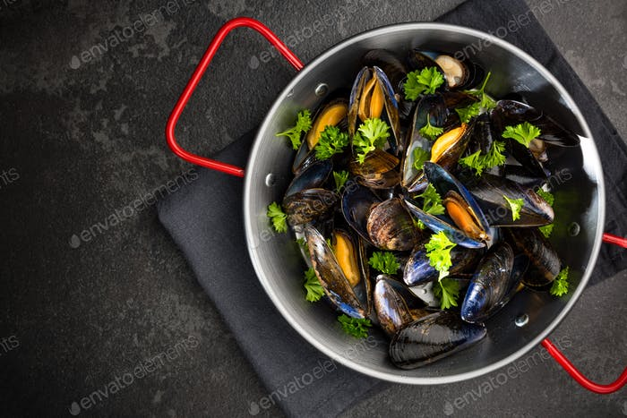 Mussels with Fresh Parsley, Seafood Dish, Top View