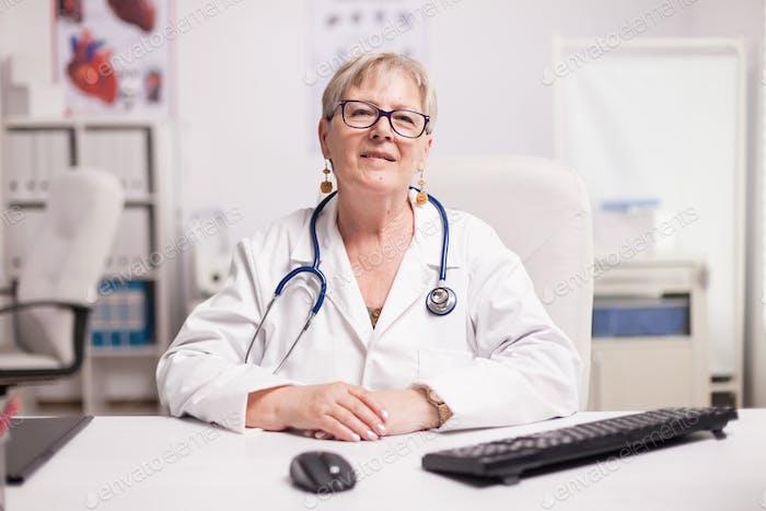 Senior doctor with stethoscope