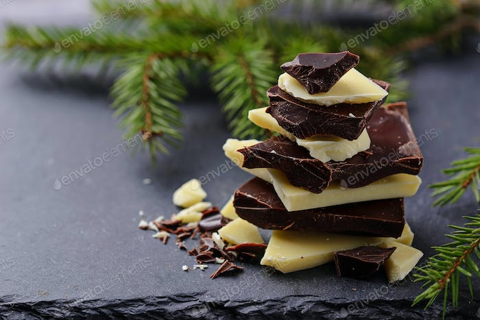 Pieces of chocolate in the form of a Christmas tree