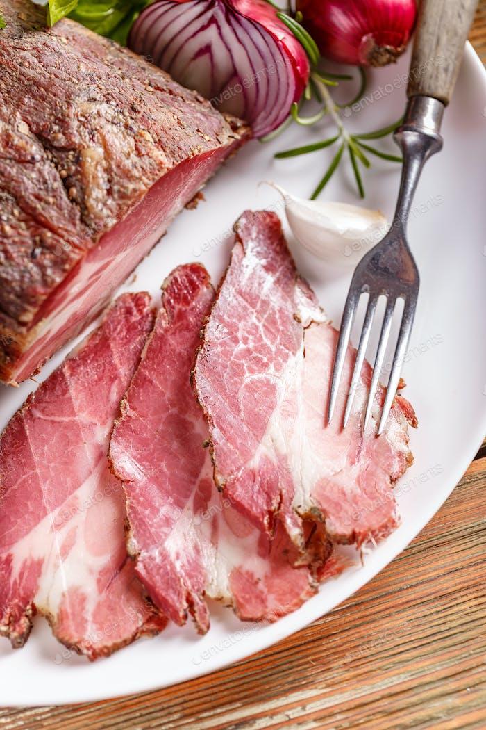Smoked loin bacon