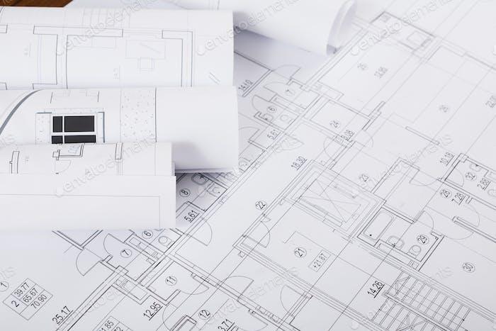 Bauplan. Hintergrund des Architekturprojekts