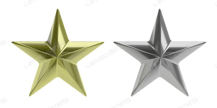 Gold and silver stars isolated cutout against white background. 3d illustration