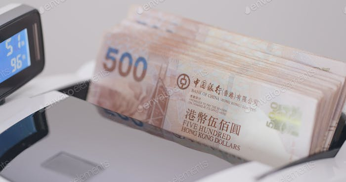 Banknotes in counting machine