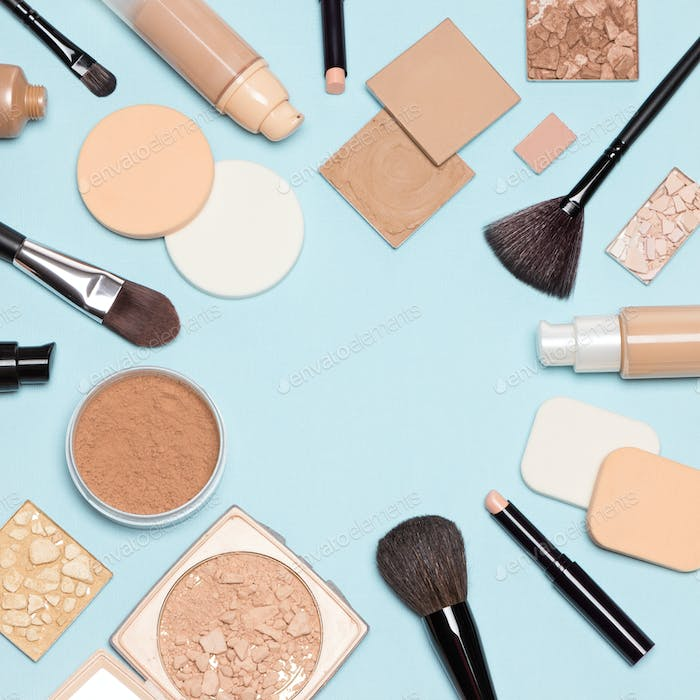 Foundation makeup products flat lay with copy space