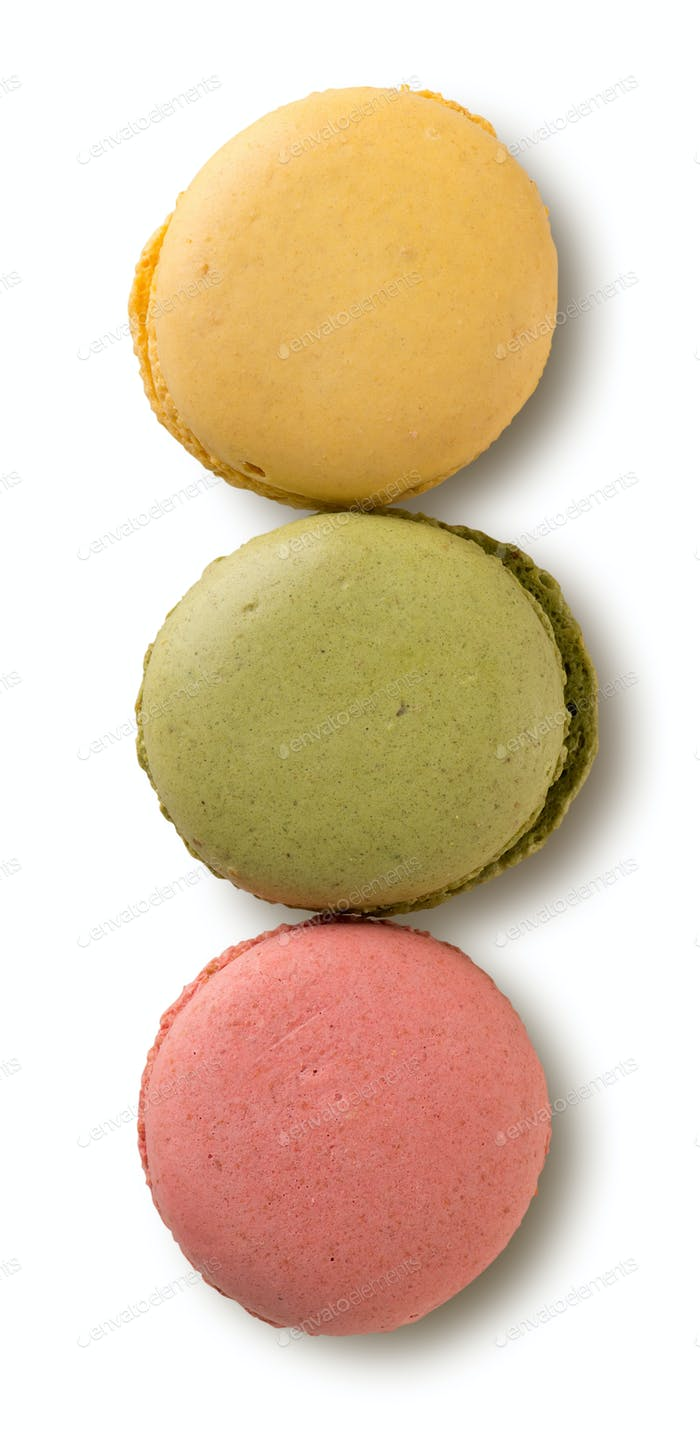 Colored caramel macarons