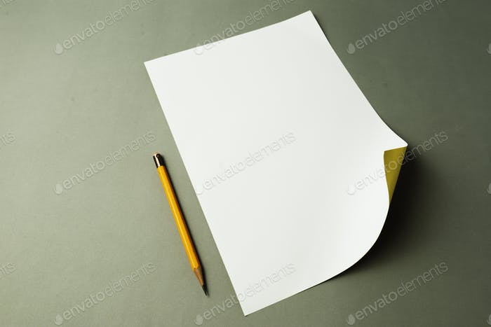 Closeup of paper and pencil stationery