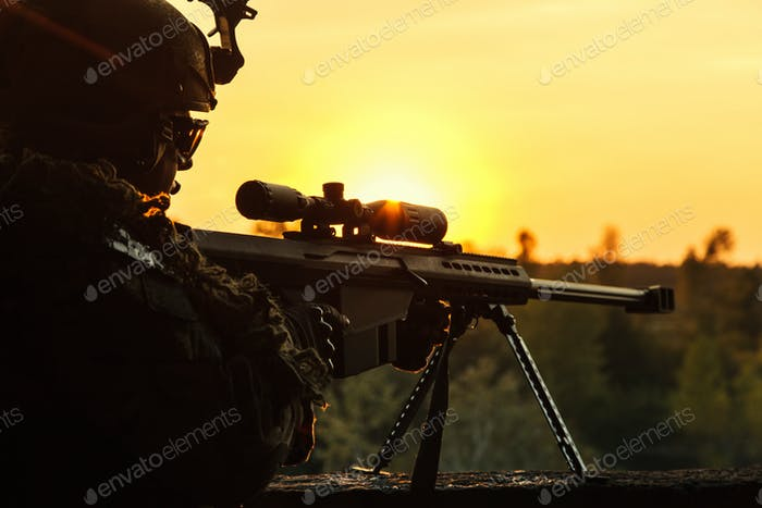 Army sniper seeking enemy