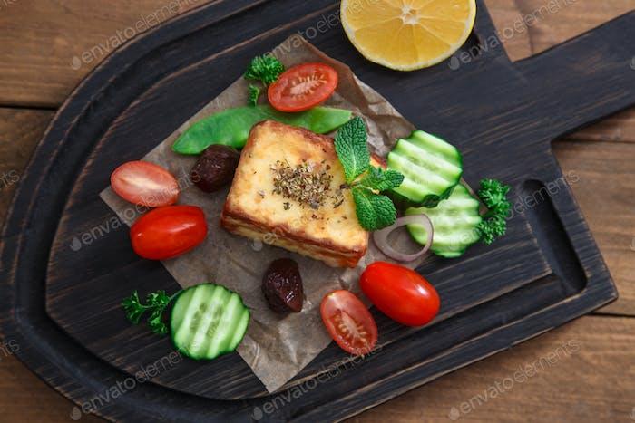 Fried halloumi cheeese or Saganaki