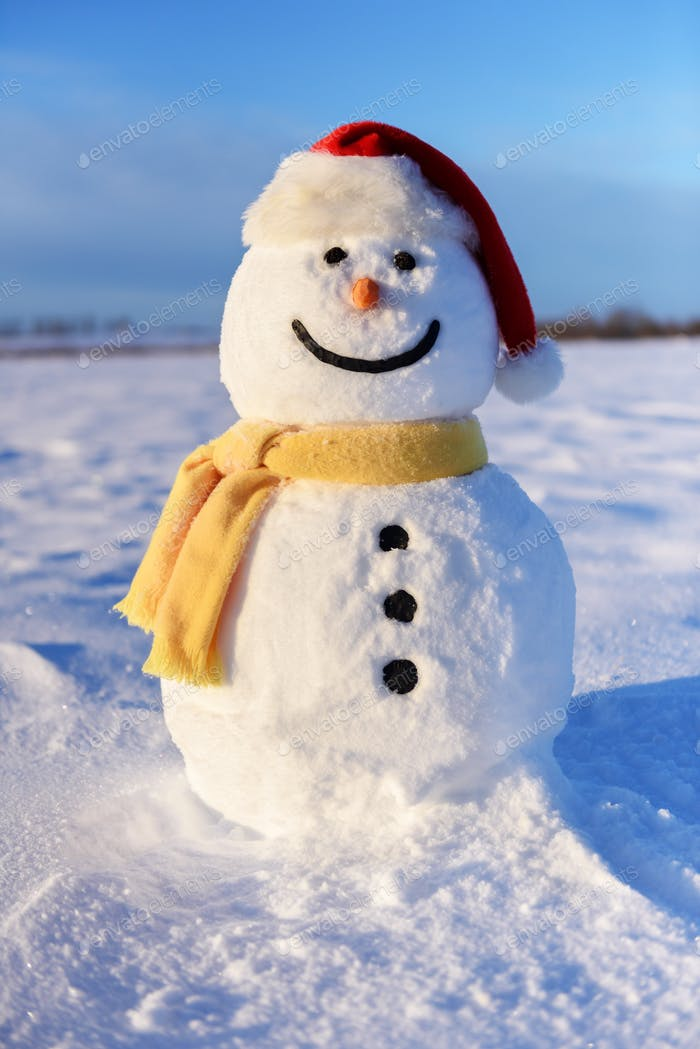 Funny snowman in red hat