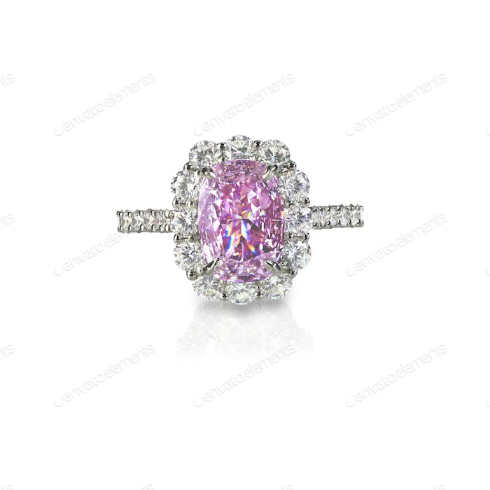 Pink diamond halo set cushion cut engagement wedding ring
