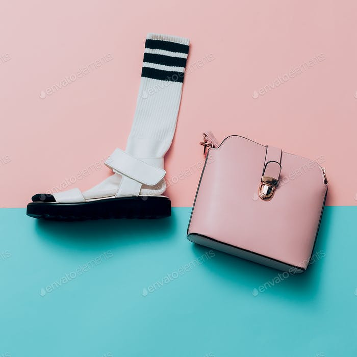 Sandals and socks. Bag. Summer minimal creative. Hipster style T