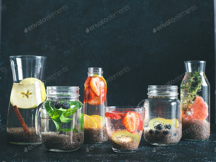 Differnet chia water in glass, copy space