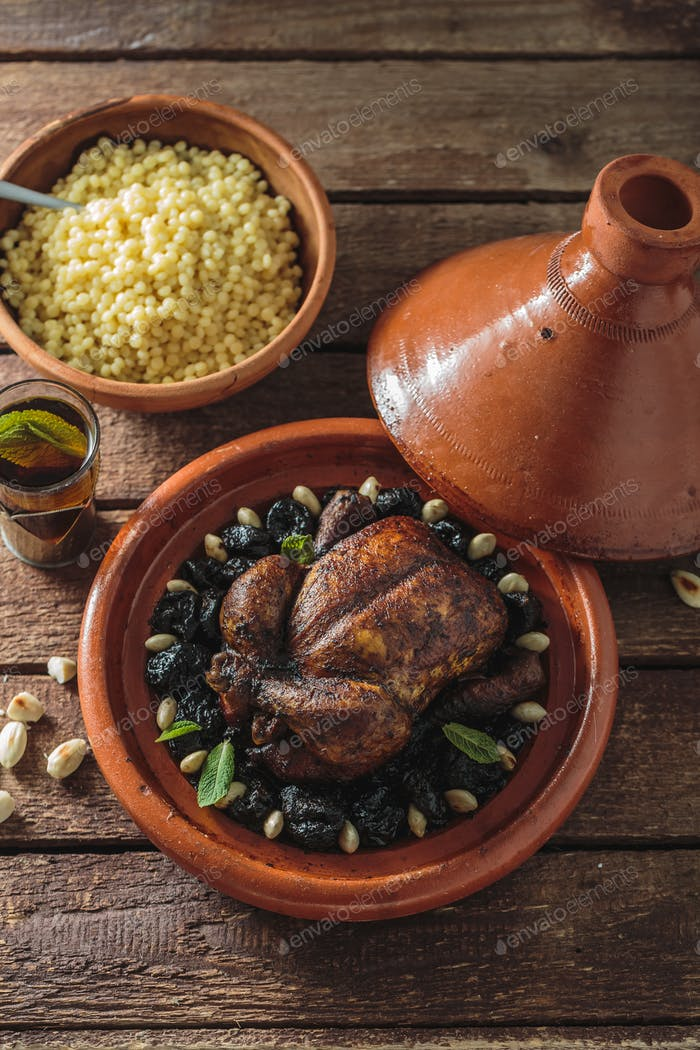 Whole chicken tajine, moroccan food, close view