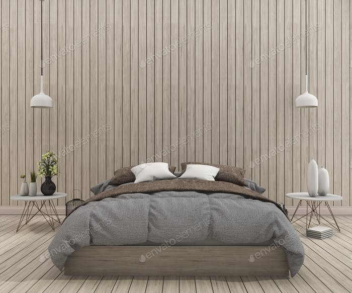 3d rendering vintage bed in clean bedroom