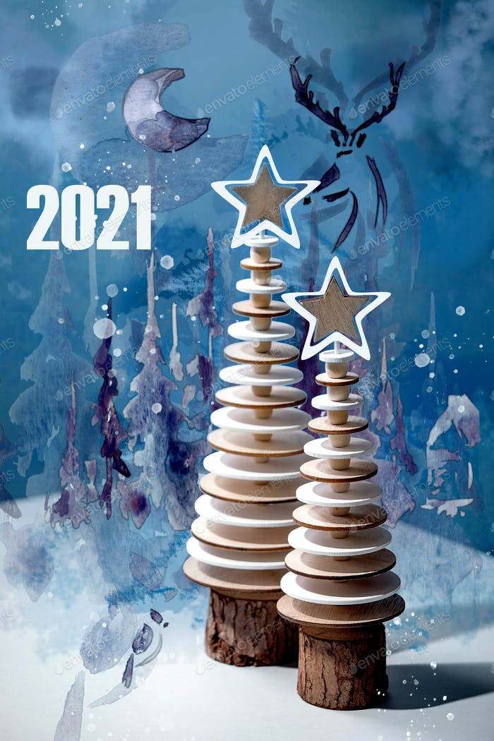 New year 2021 greeting card with wooden trees and waterclolr elements over blue