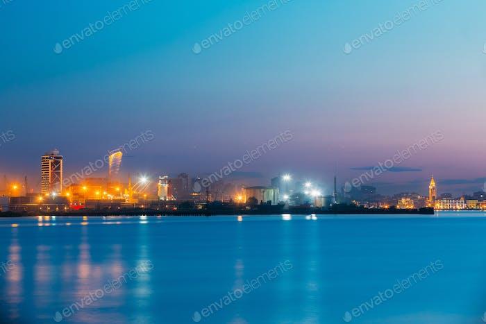 Batumi, Adjara, Georgia. Port Dock On Sunny Evening Or Night At