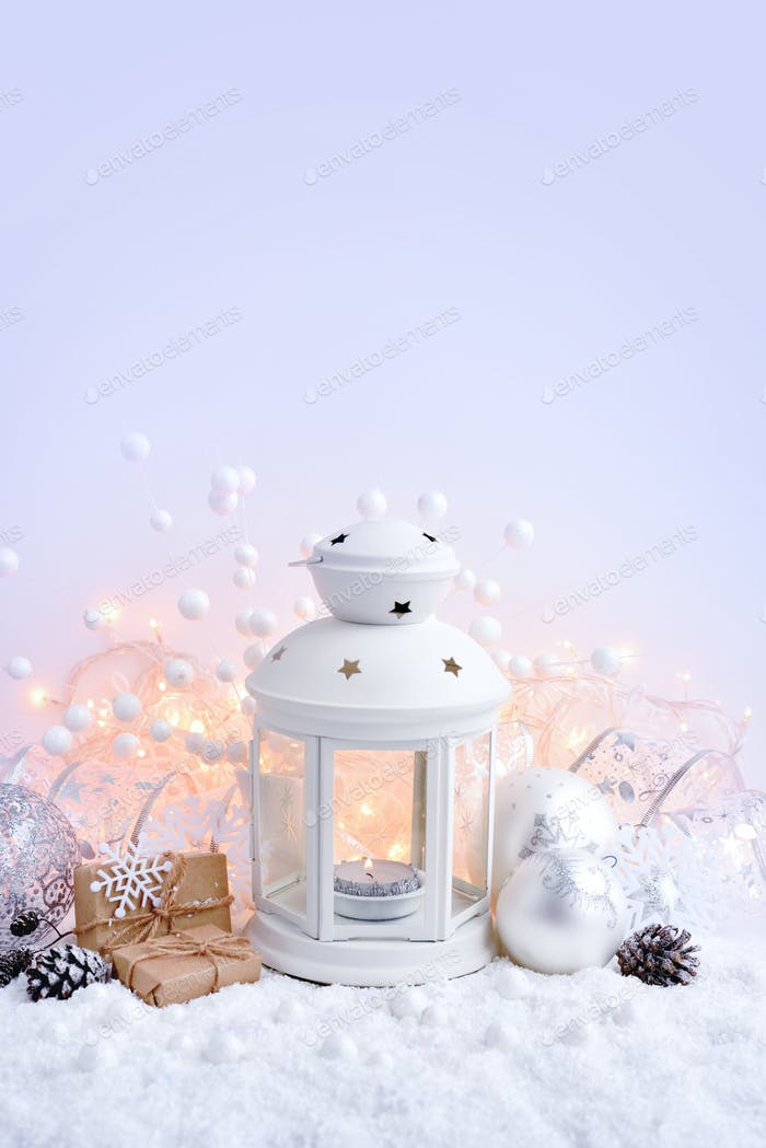 Christmas composition with lantern. Festive Christmas background
