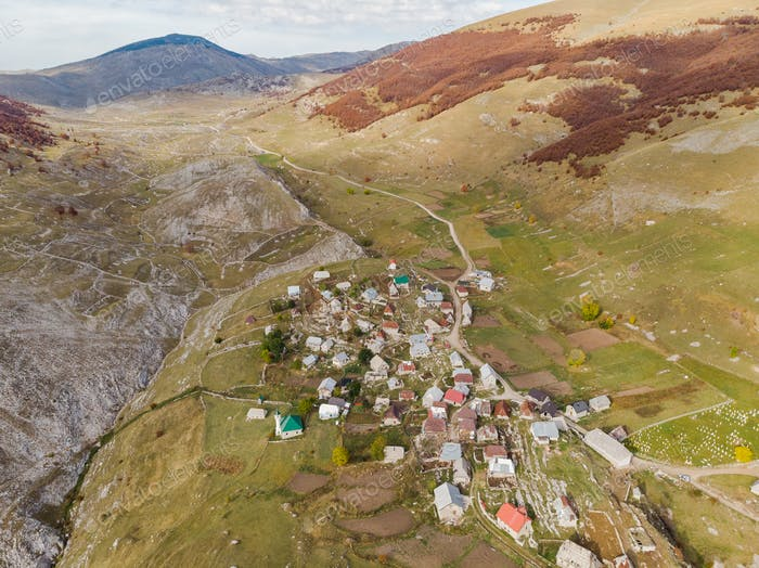 Lukomir, remote village in Bosnia mountains, birds eye view from