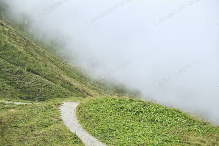 path in mountains into fog