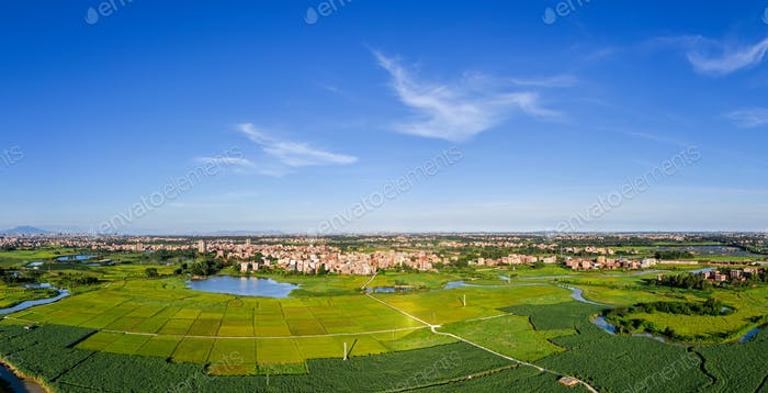 Rice paddies and villages