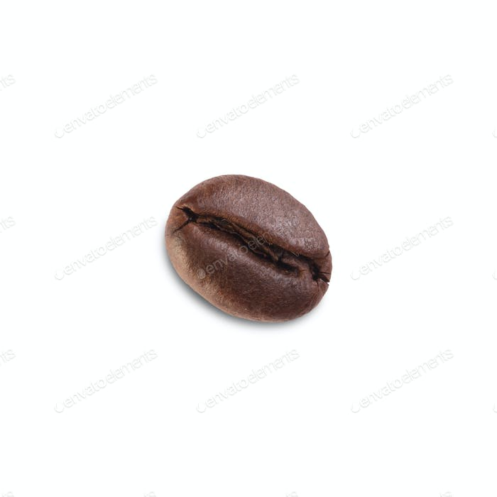 Fresh roasted coffee bean isolated on white background.
