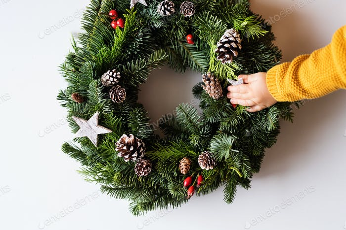 Christmas wreath on a white background.