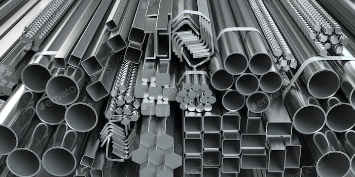 Different metal rolled products. Stainless steel profiles and tu