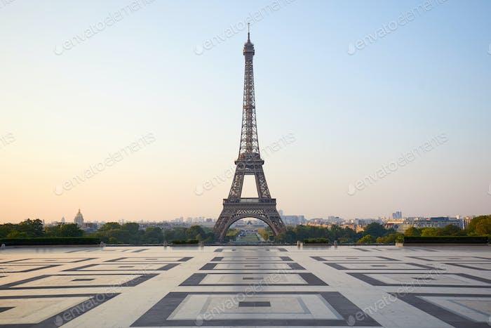 Eiffel tower, empty Trocadero, nobody in a clear morning in Paris