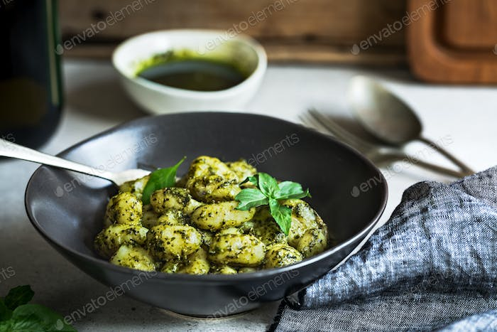 Gnocchi with Basil Pesto sauce in a bowl