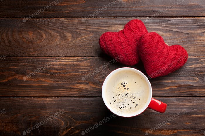 Valentines day hearts and coffee