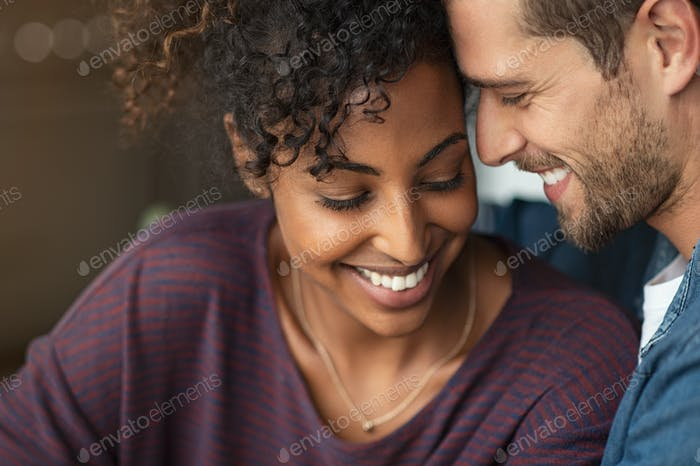 Romantic multiethnic couple in love