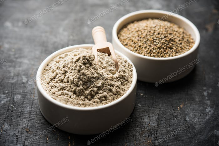 Bajra or pearl millet or sorghum grains with it's flour or powder