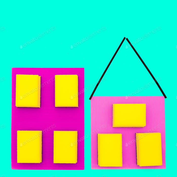 Houses made of sponges. Minimal art design.