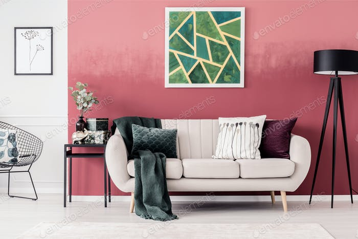 Sofa and geometric painting