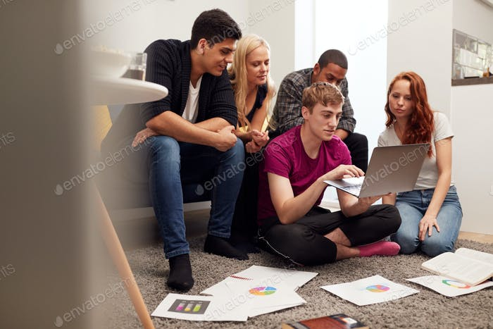 Group Of College Students In Lounge Of Shared House Studying Together