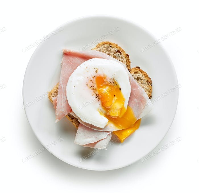 Plate of sandwich with poached egg