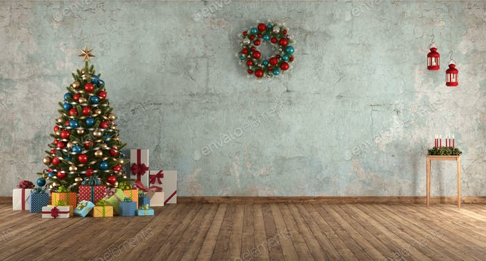 Blue old room with Christmas tree,gift and decoration - 3d rendering