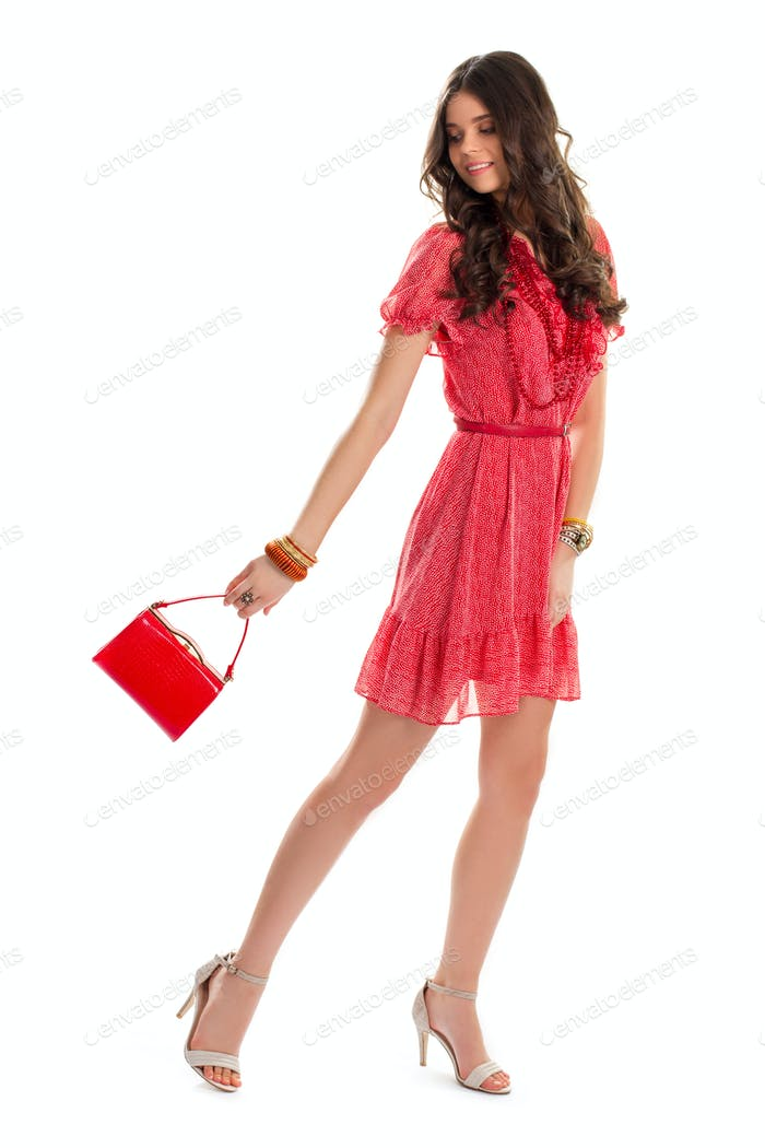 Girl in red dress smiling