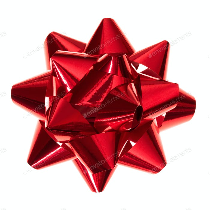 Glossy red gift bow isolated