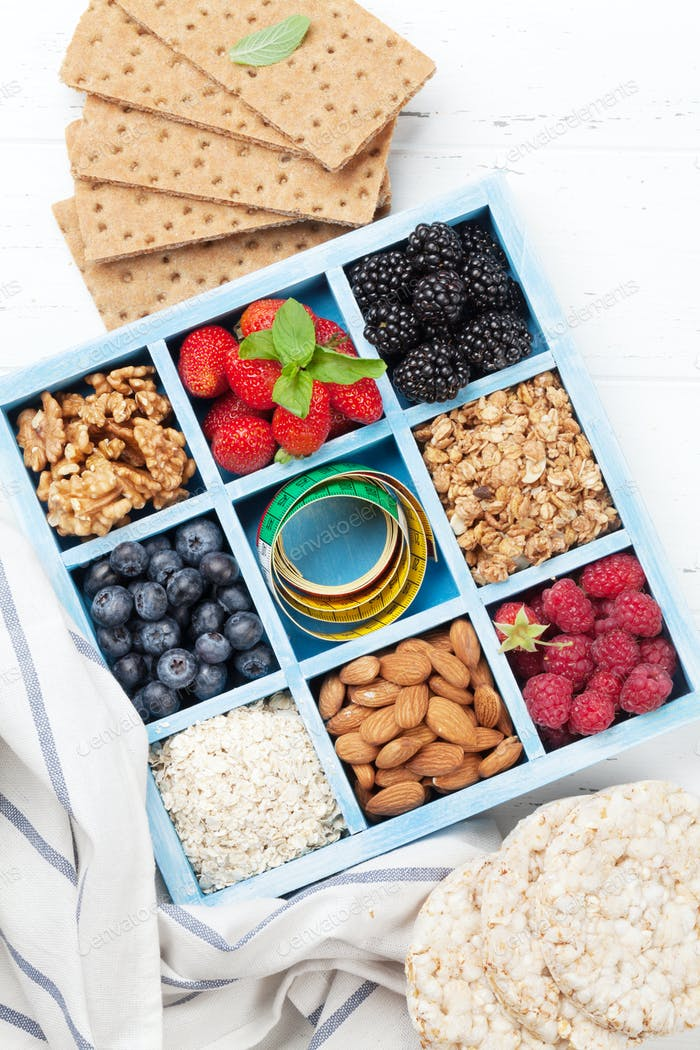 Healthy breakfast set with muesli, berries