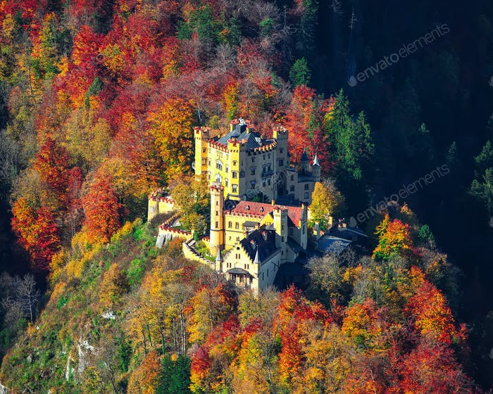 Aerial view of famous Hohenschwangau castle in autumn.