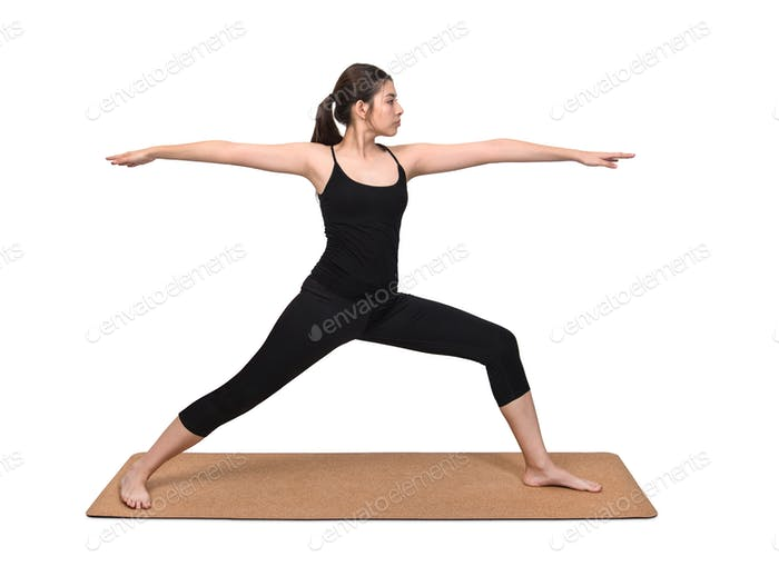 Young woman exercise pose on yoga mat on white