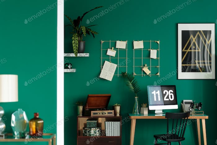 Green hipster student room interior