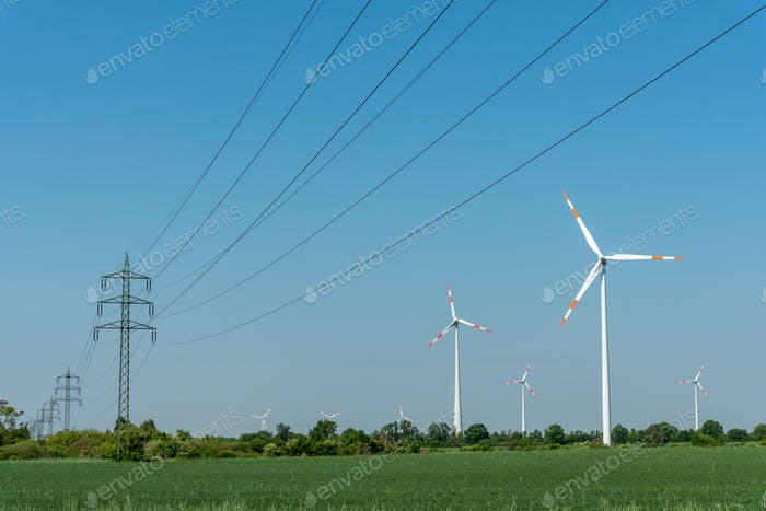 Overhead power lines and wind energy plants
