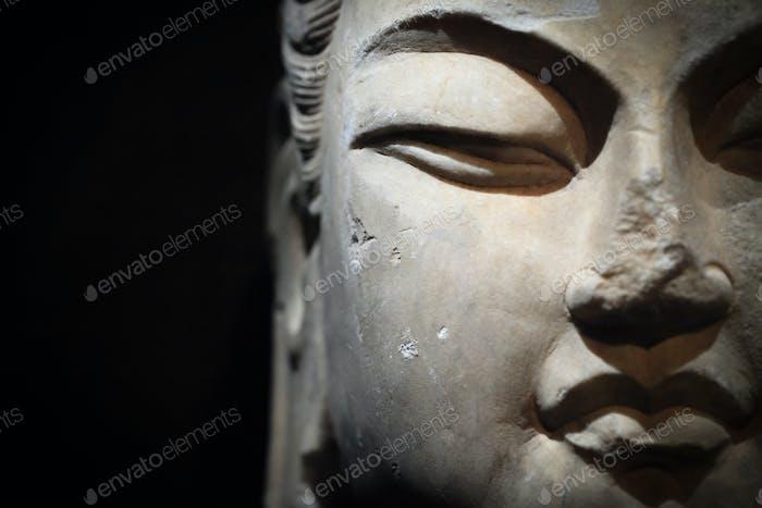 stone buddha closeup