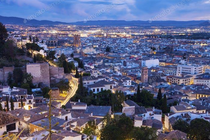 Panorama of Granada at night